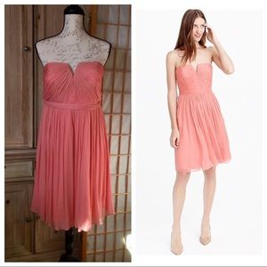 J. Crew Nadia Silk Strapless Coral Dress Sz 10